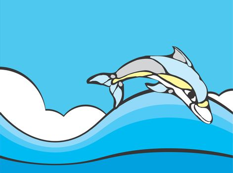 Common Dolphin leaping in the ocean rendered in a simplistic style.