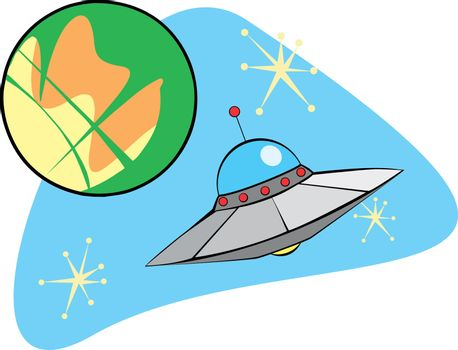 Retro Planet Mars and flying saucer.