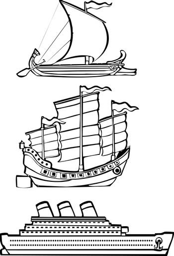 three simple ships from history illustrated in black and white.