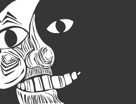 Closeup image of the man in the moon derived from one of my woodcuts.