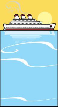 Ocean liner on warm blue tropical waters.