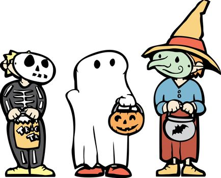 Three kids in Halloween Costumes and candy bags.