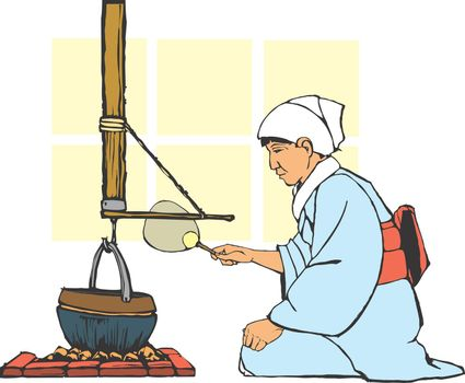 Traditional japanese farm hearth being tended by a woman in culturally correct costume.