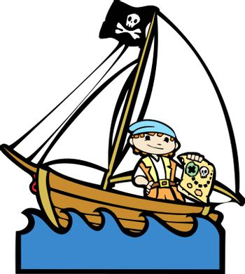 Simple children's boat image with boy in pirate costume.