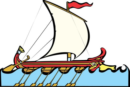 Greek Sailing Warship in the style of a trireme.