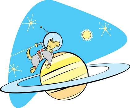 Retro Space Dog flies by planet Saturn.