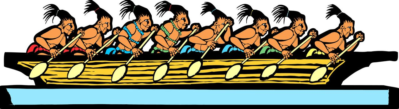 Mayan canoe done in temple mural style.
