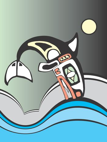 Killer whale diving into the ocean waves in the style of Northwest Coast Native American tribal art.