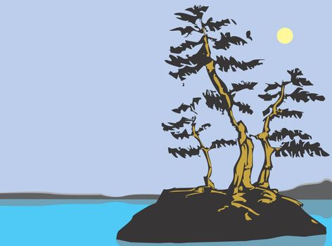 Twisted pine trees from my own scratch board image on an outcrop in the middle of lake.