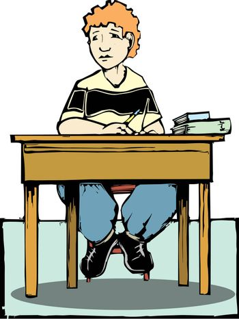 Boy sitting at a desk listening with books and pencil.