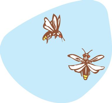 Two fireflies flying together in the early evening.