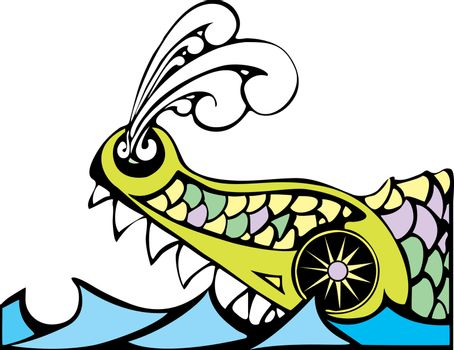Biblical Leviathan of the ocean blowing steam from his nostrils.