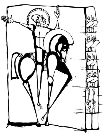 Woodcut  stylized image of a crusader on a horse.