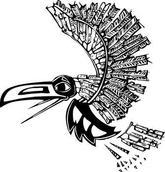 Mythical flying Raven rendered in Northwest Coast Native style.