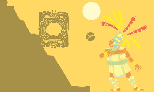 Single Mayan Ballplayer in ball court designed after Mesoamerican Pottery and Temple Images.