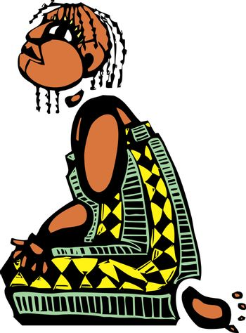 Kneeling girl in an african patterned dress looks up.