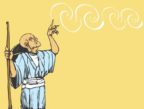 Old asian wizard casts a spell. Plenty of space for text of expansion of image.