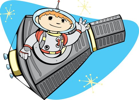Retro Mercury Space Capsule with a boy in a spacesuit.