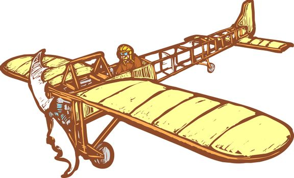 Early 20th century Bleriot airplane in flight.