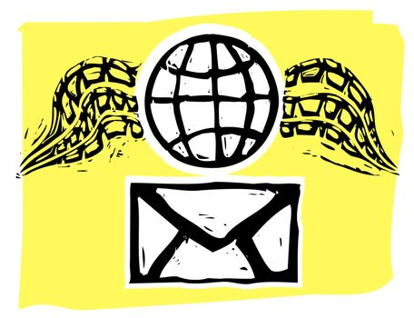 Rough woodcut style envelope and winged globe airmail style.