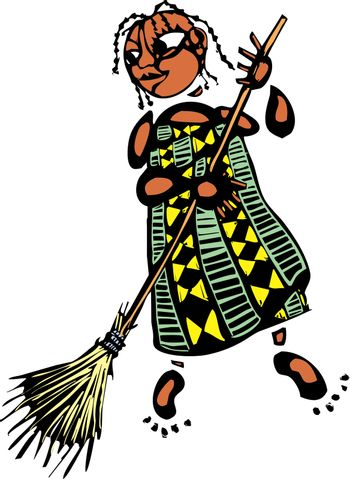 Girl in an african patterned dress with broom