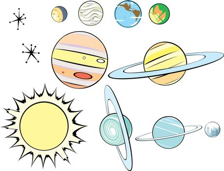 Stars, Planets and Sun in Retro Style to be arranged as you like.