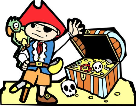 Pirate treasure chest with gold coins, skulls  and boy in pirate costume.