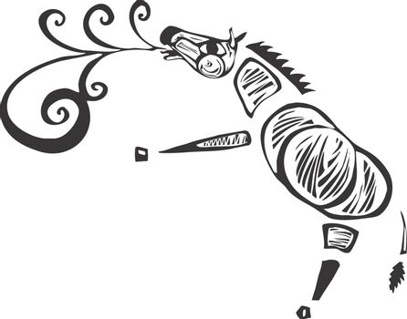 A zebra calling out with a song rendered as a speech scroll.