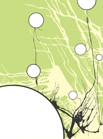 Abstracted circle flowers using an expressionist spatter technique. Space for text in circles.