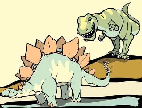 Smiling Tyrannosaurus Rex hunts the Stegosaurus.