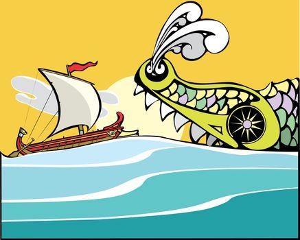 Greek ship being eaten by a sea monster.