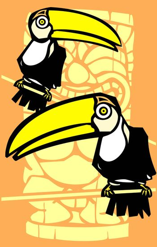 Tropical toucan birds with retro tiki in background.