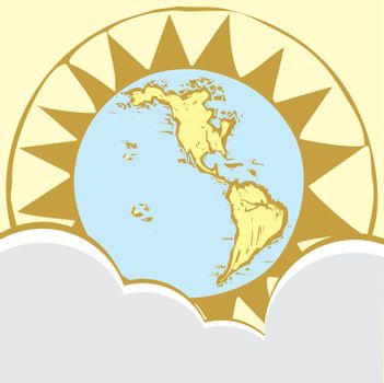 Western Hemisphere of the globe done in a woodcut style from my own work with set in a compass rose and behind stylized clouds.