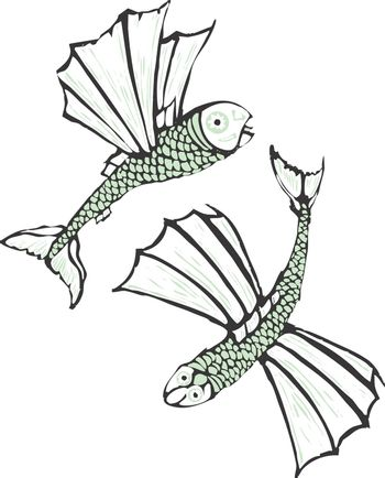 Two flying fish rendered in a simplistic scratch board style.