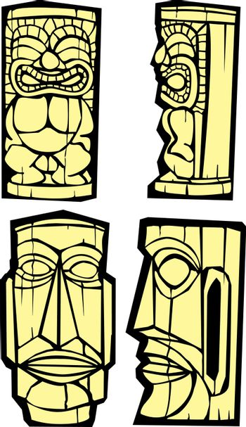 Mixed group of tikis side and front views.