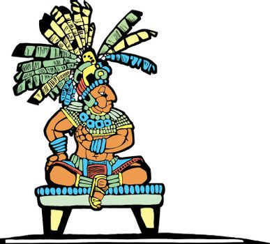 Mayan King designed after Mesoamerican Pottery and Temple Images.