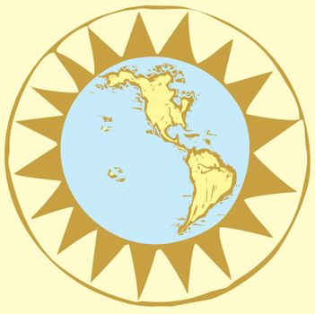 Western Hemisphere of the globe done in a woodcut style from my own work with set in a compass rose.