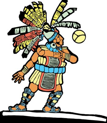 Mayan Ballplayer designed after Mesoamerican Pottery and Temple Images.