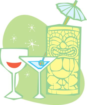 Retro styled Tiki thinks about having a martini.