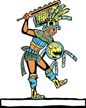 Mayan warrior designed after Mesoamerican Pottery and Temple Images.
