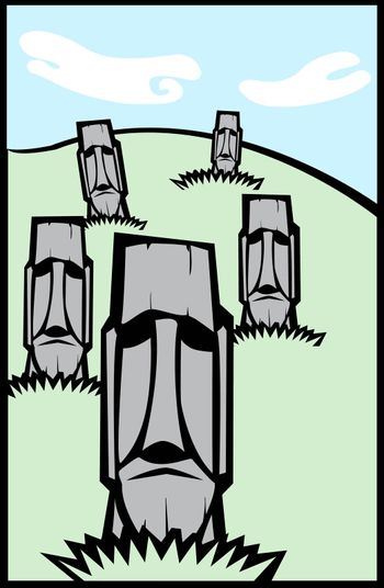 Easter Island Moai heads on a hill in a tabloid layout.