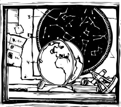 Woodcut image of a desk with starcharts and globe.