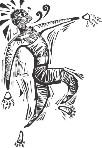 Dancing man in woodcut style evoking african imagery.