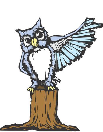 An owl raises his wing as he tries to prove a point.