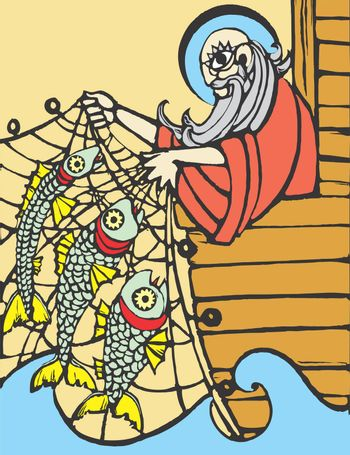 Noah fishing of the side of his ark with a net.