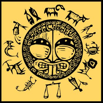 Primitive western zodiac around a center design of greek shield.