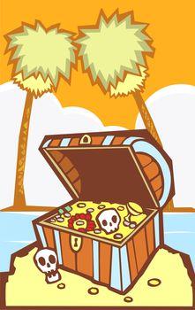 Pirate Treasure chest on a south sea's island.