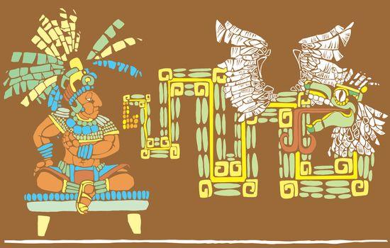 Mayan King in full regalia and Kulkulcan
