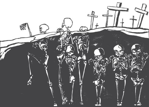 A cemetery in which the skeletons are coming alive.