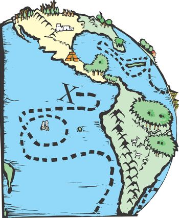 A woodcut image of a pirate map.